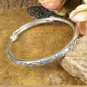 Jewelry - Tibetan Engraved Adjustable Silver Bangle Bracelet